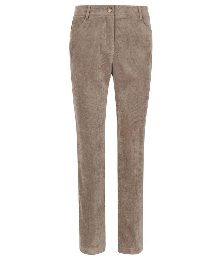 Viyella Petite Cord Straight Leg Trousers, Ink