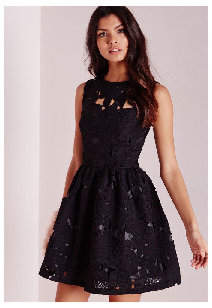 Lace Skater Dress Black, Black