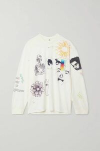 Miu Miu - Cape-effect Printed Chiffon Blouse - Blue
