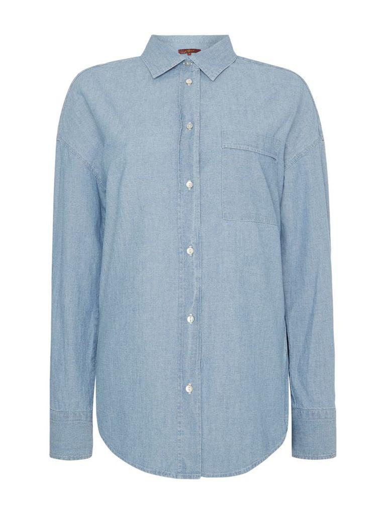 7 For All Mankind Chambray essential boyfriend shirt, Denim Light Wash