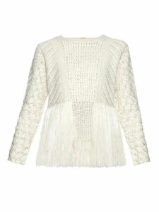 Adam Lippes - Fringed Crochet Panel Sweater - Womens - Ivory