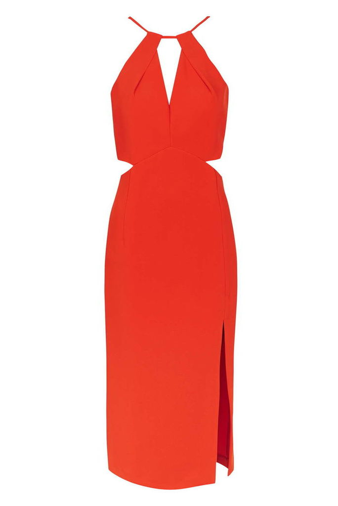 Womens Premium Cut-Out Midi Dress - Red, Red