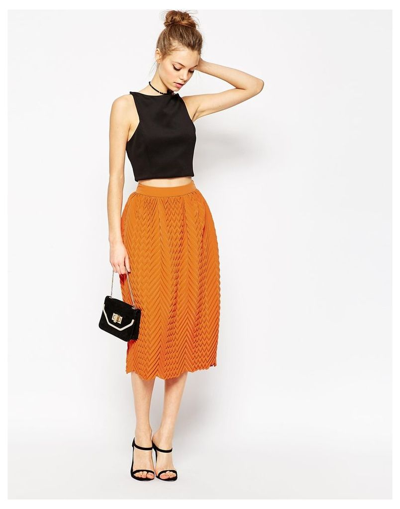 ASOS Chevron Pleated Midi Skirt - Orange