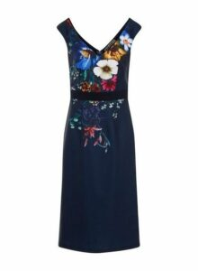 Womens Little Mistress Navy Floral Print Wiggle Bodycon Dress - Blue, Blue