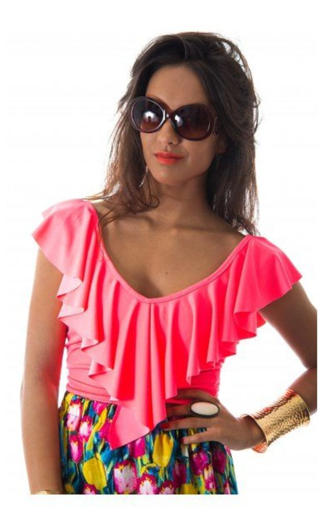 Keep Your Cool Neon Pink Cross Back Top