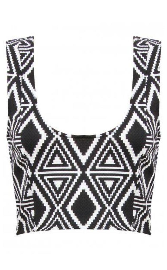 Monochrome Aztec Plaid Print Top