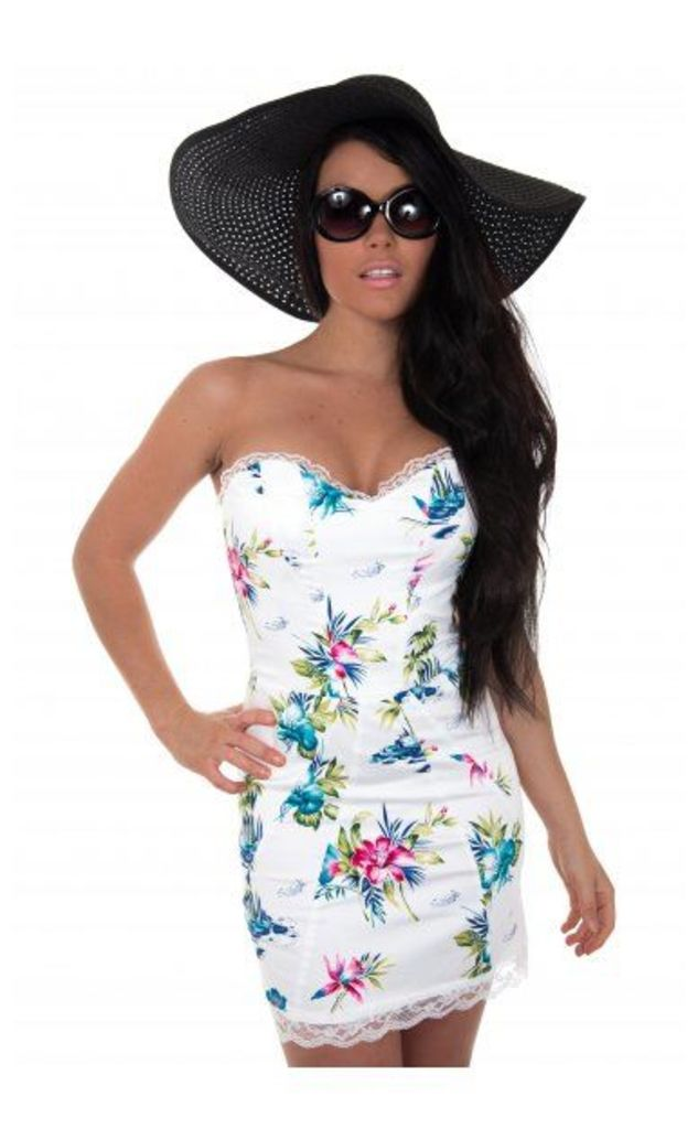 LUXE Tia Floral Lace Bodycon Dress In White