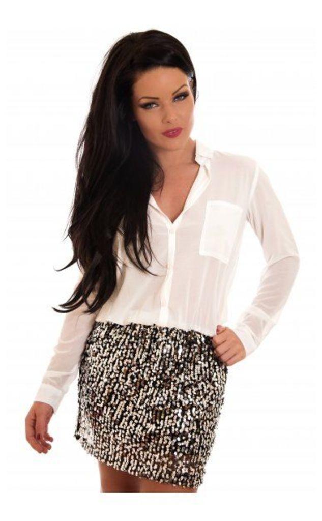 Sequin Shirt Dress In White