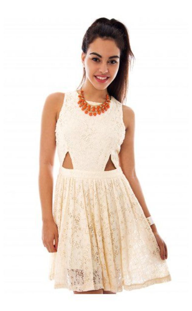 Lucille Cut Out Skater Dress In Cream