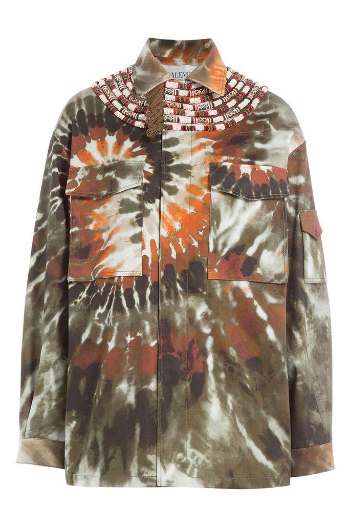 Valentino Printed Cotton Jacket with Fringed Embellishment