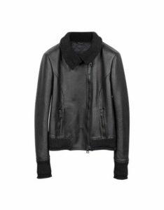 Forzieri Designer Leather Jackets, Women's Black Leather And Mix Media Jacket