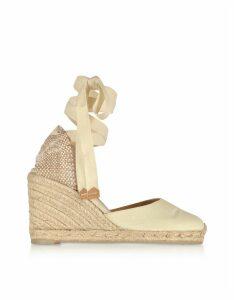 Castaner Designer Shoes, Carina Ivory Canvas Wedge Espadrilles