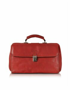 Robe di Firenze Designer Travel Bags, Red Medium Genuine Italian Leather Doctor Bag