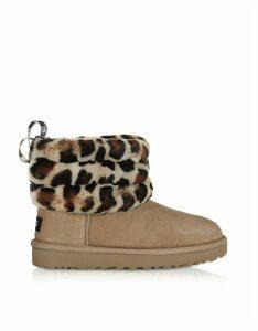 UGG Designer Shoes, Leopard Fluff Mini Quilted Boots