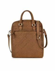 Forzieri Designer Briefcases, Brown Woven Suede Vertical Messenger Bag