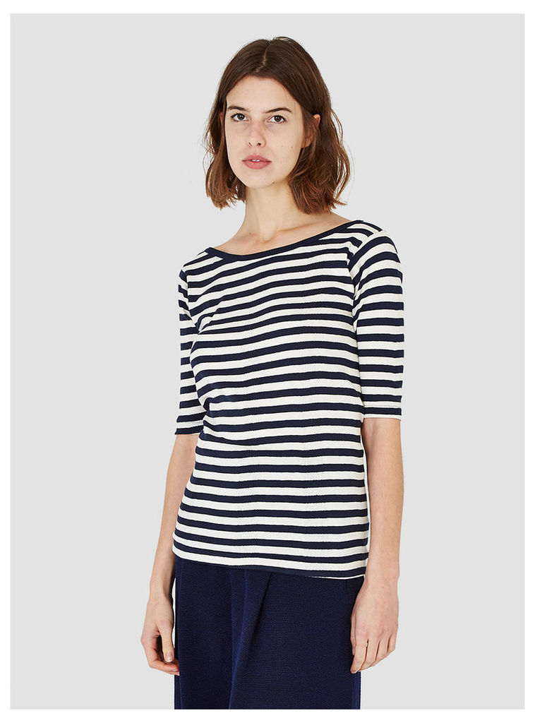 Gravel & Gold Boatneck Wide Stripe T-Shirt Navy and White Womenswear