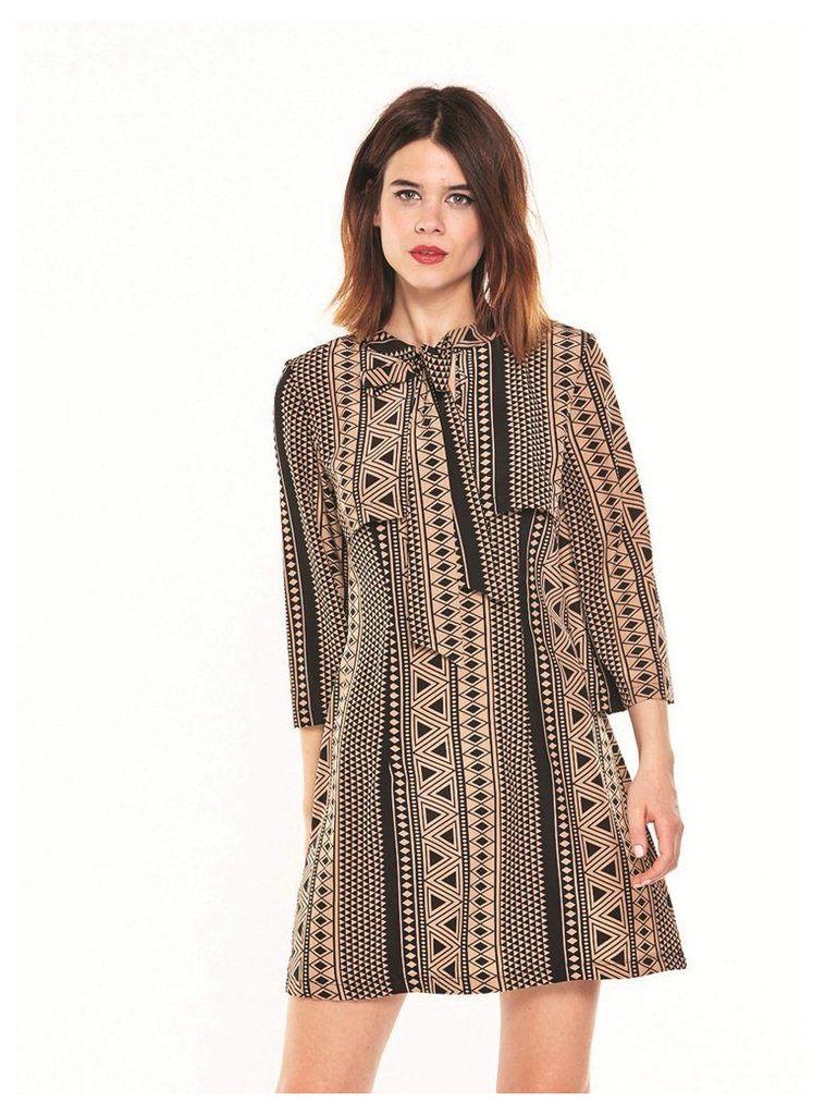 GEOMETRIC PRINT MINI PUSSY BOW DRESS - 14UK
