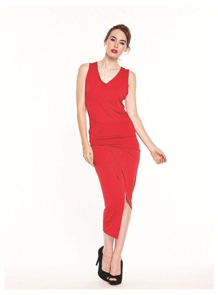RED ASYMMETRIC RUCHED DRESS - M (10-12UK)