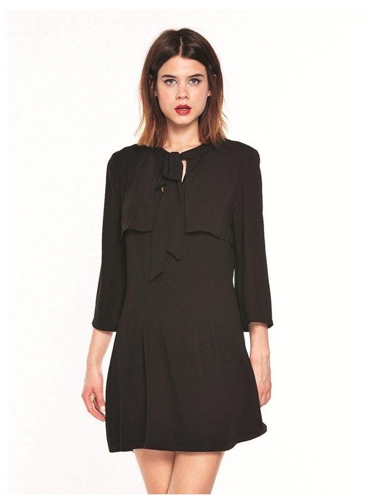 BLACK PUSSY BOW MINI DRESS - 10UK