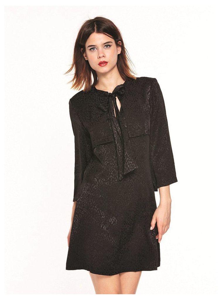 BLACK LEOPARD PUSSY BOW MINI DRESS  - 10UK