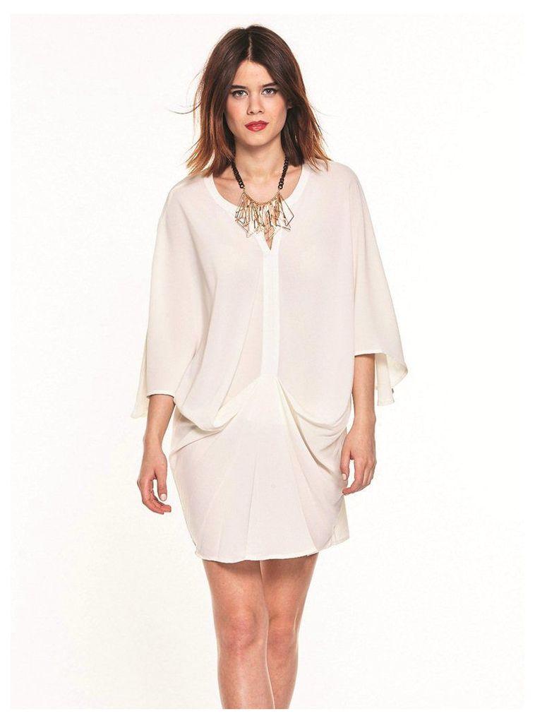 CREAM SHIFT DRESS WITH KIMONO SLEEVES - M-L (12-14UK)