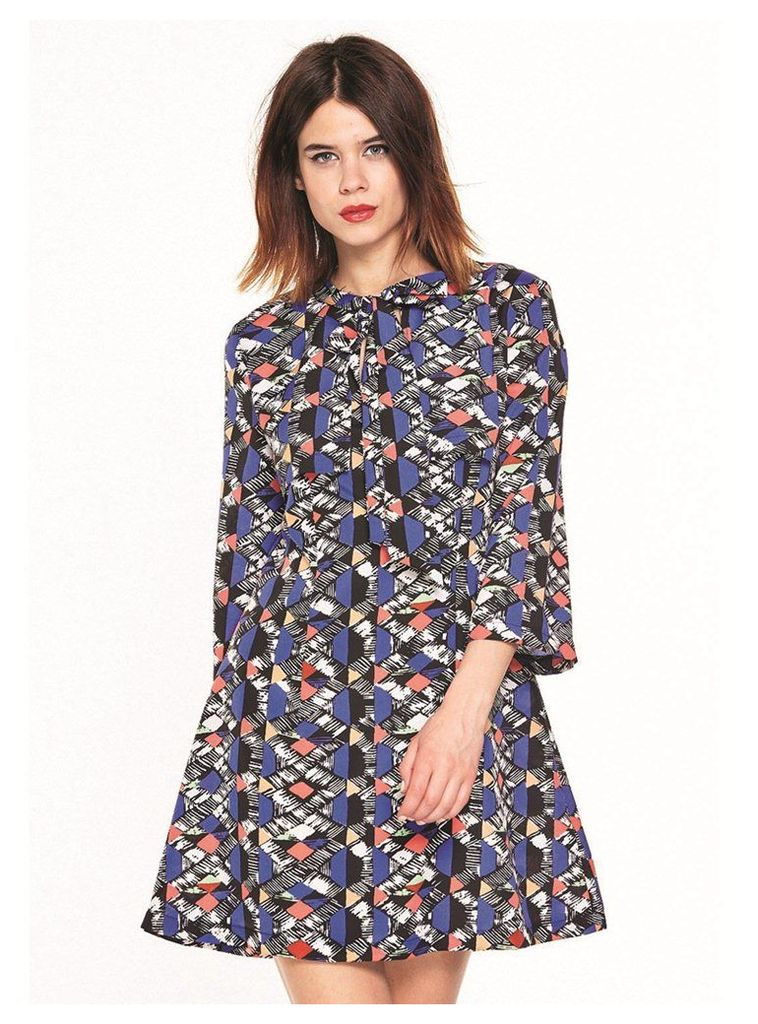 BLUE AND CORAL PRINTED MINI PUSSY BOW DRESS - 14UK
