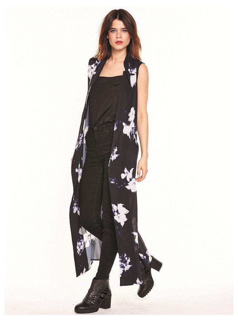 SLEEVLESS MAXI SHIRT WITH FLORAL PATTERN  - M - L (12-14UK)