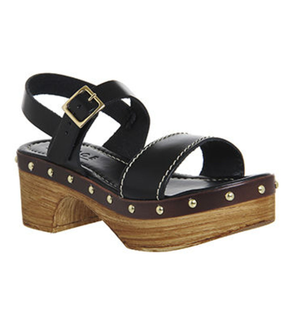 Office Mighty Two Strap Clogs BLACK LEATHER