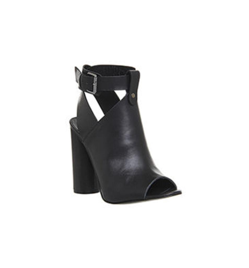 Poste Mistress Natasha Cylindrical Heel Sandal BLACK LEATHER WOOD HEEL