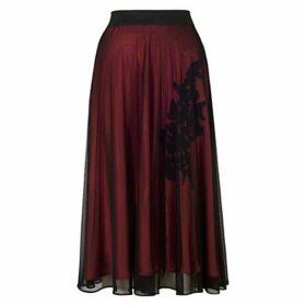 Chesca Lined Mesh Skirt, Black