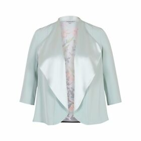 Chesca Floral Print Satin Shrug, Aqua/Multi