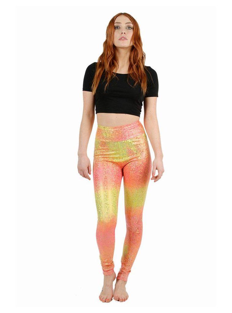 Ombre Peach Disco Mermaid Leggings - M/L