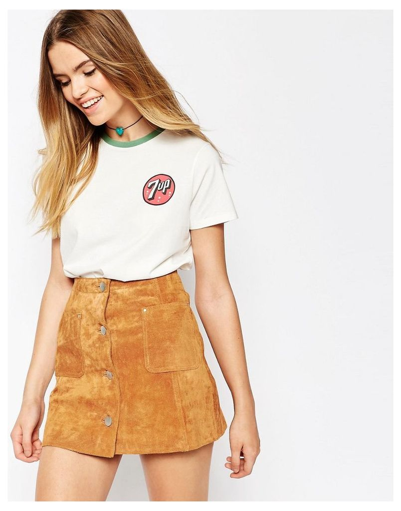 ASOS T-Shirt In Boyfriend Fit With 7 Up Print - White