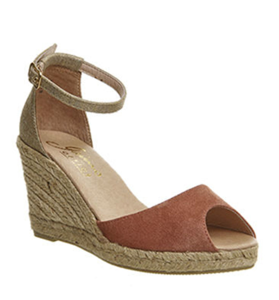 Gaimo for OFFICE Susan Wedge Espadrille PINK GOLD SUEDE LEATHER