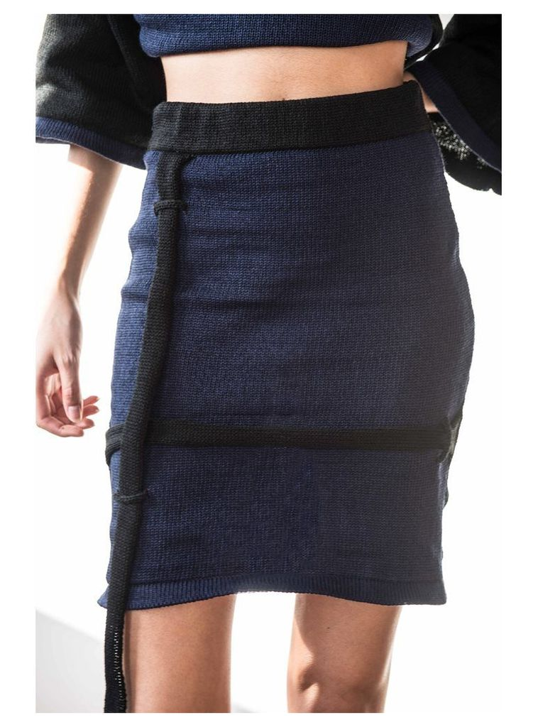NAVY AND BLACK SKIRT WITH STRAPS - Large