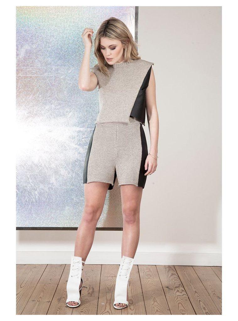 Lita Leather and Knit Shorts - Medium