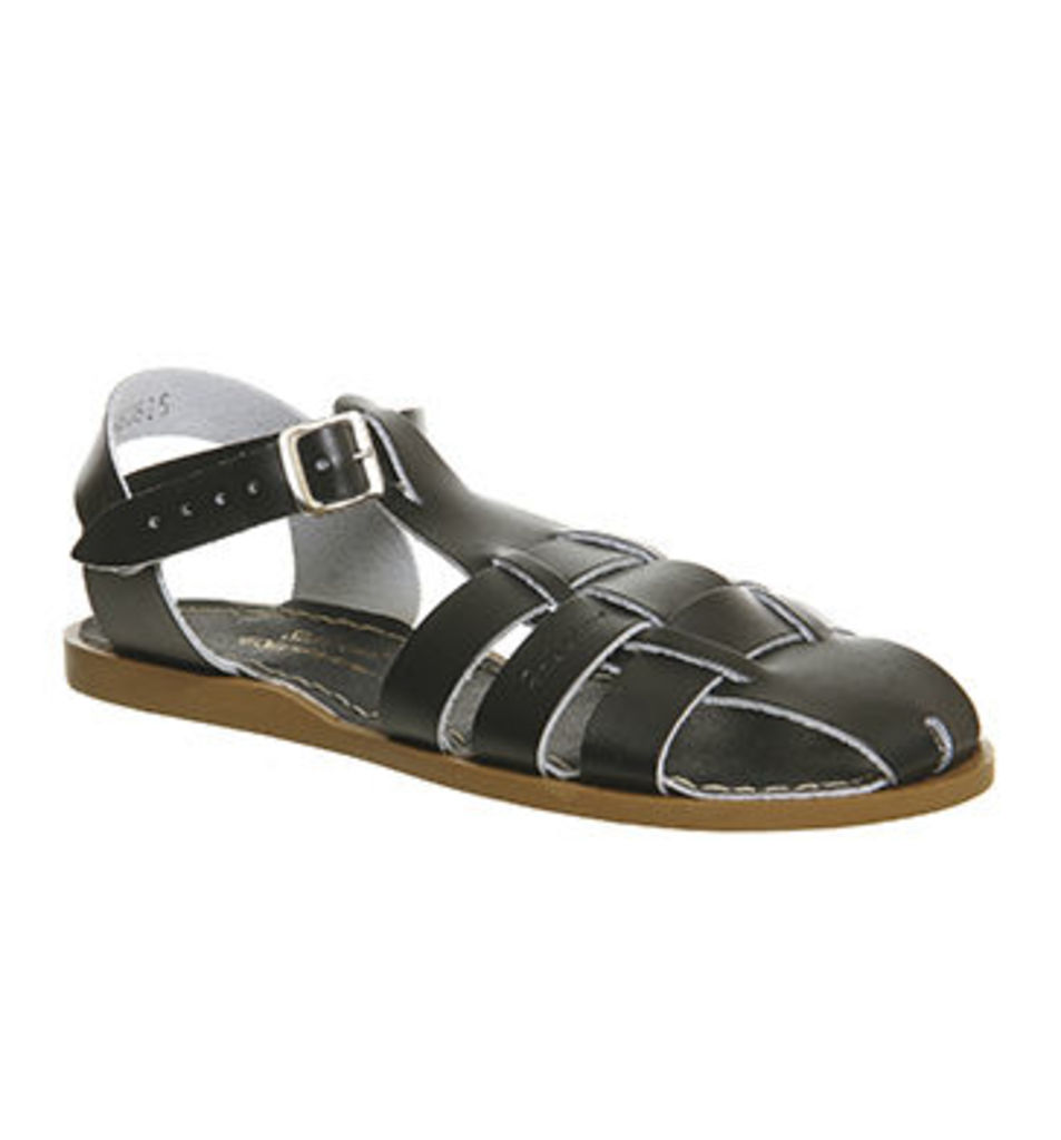 Salt Water Shark Sandal BLACK LEATHER
