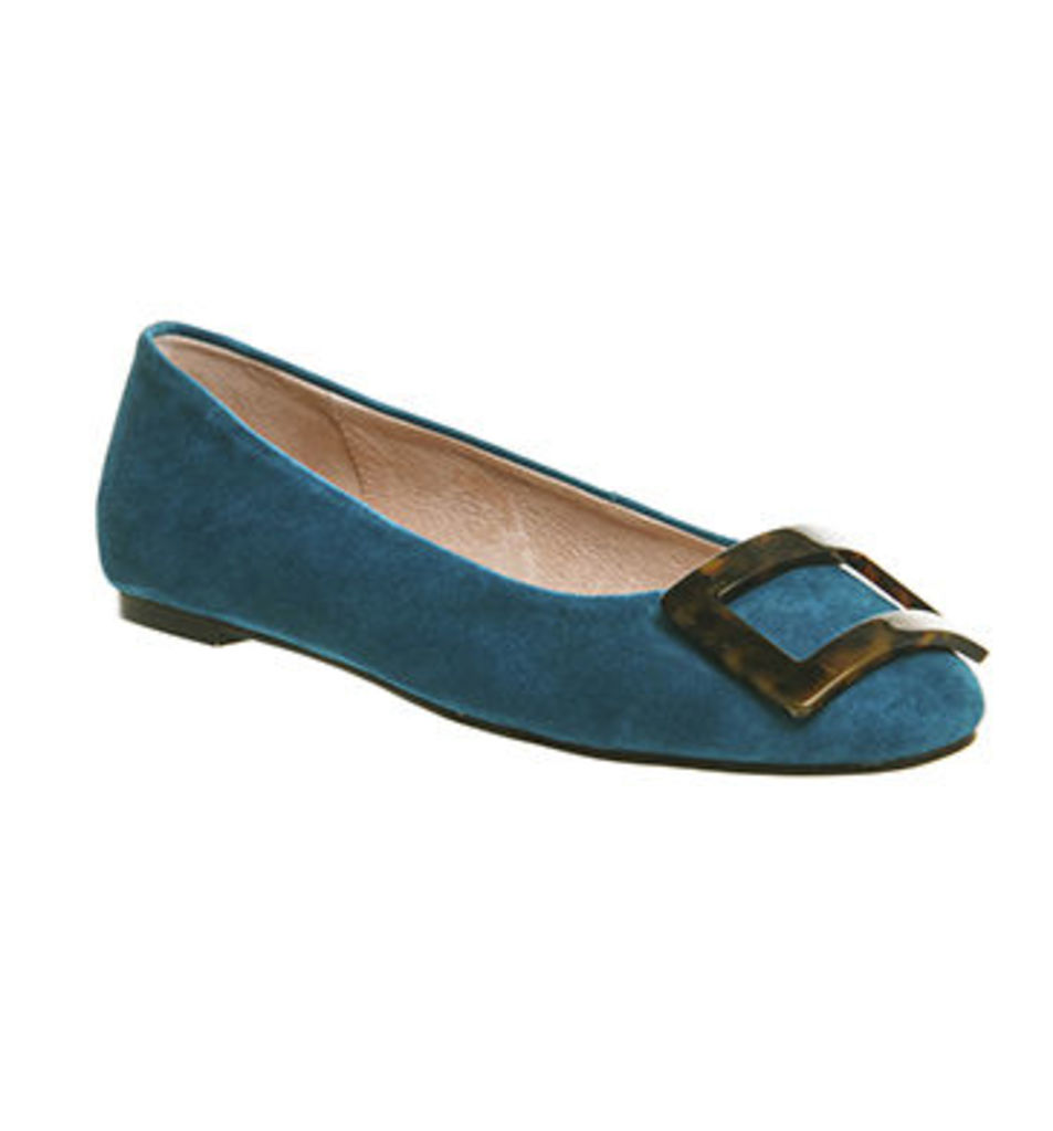 Office Darling Square Toe Trim Ballets TEAL SUEDE