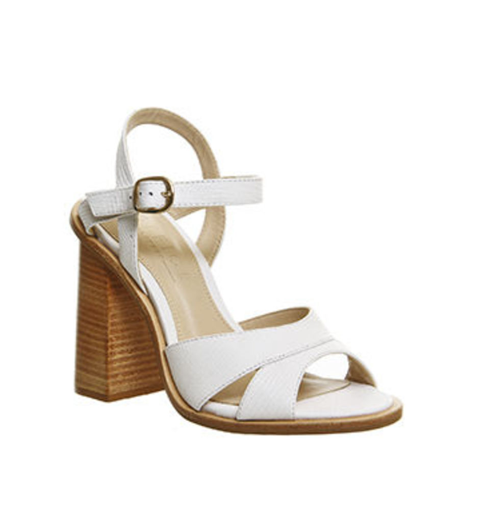 Office Nautical Flare Heel Sandal WHITE LEATHER
