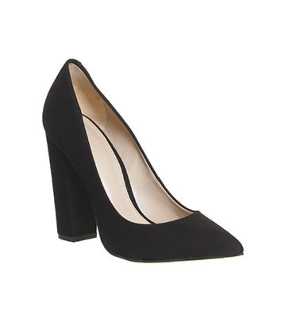 Office Abigail Point Block Heel Court BLACK NUBUCK