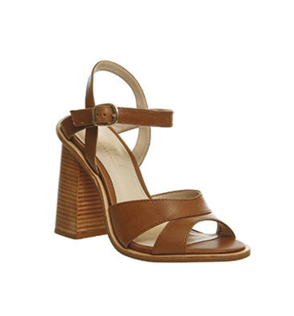 Office Nautical Flare Heel Sandal TAN LEATHER
