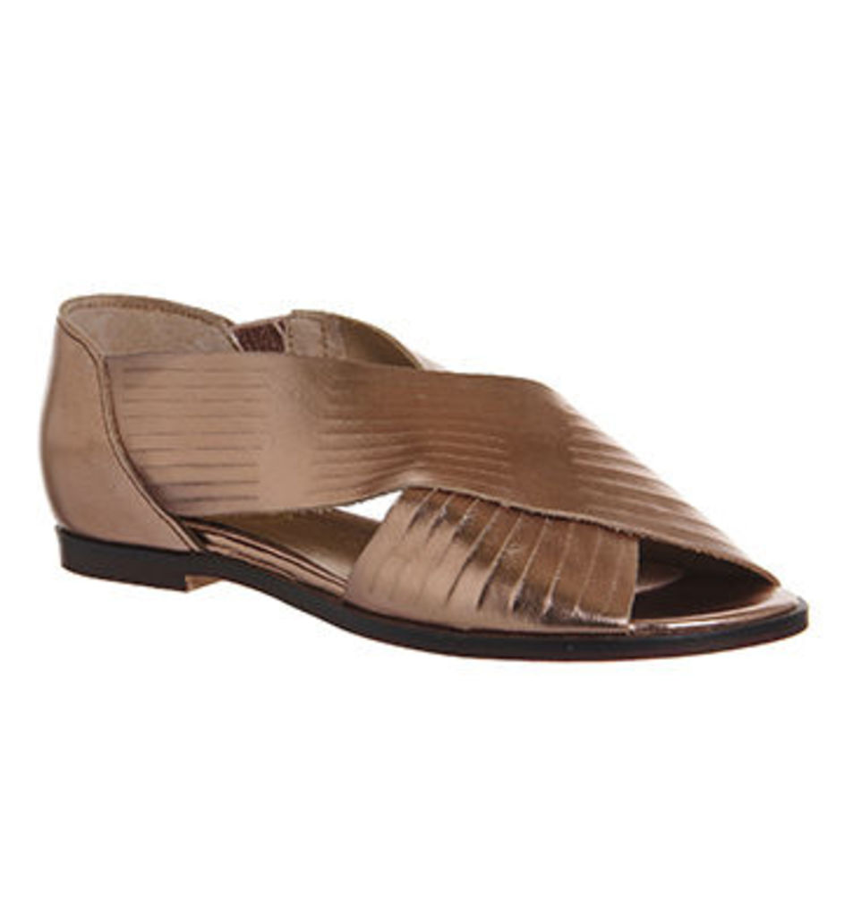 Office Deadline Cross Strap Peep Toe Shoes COPPER METALLIC LEATHER