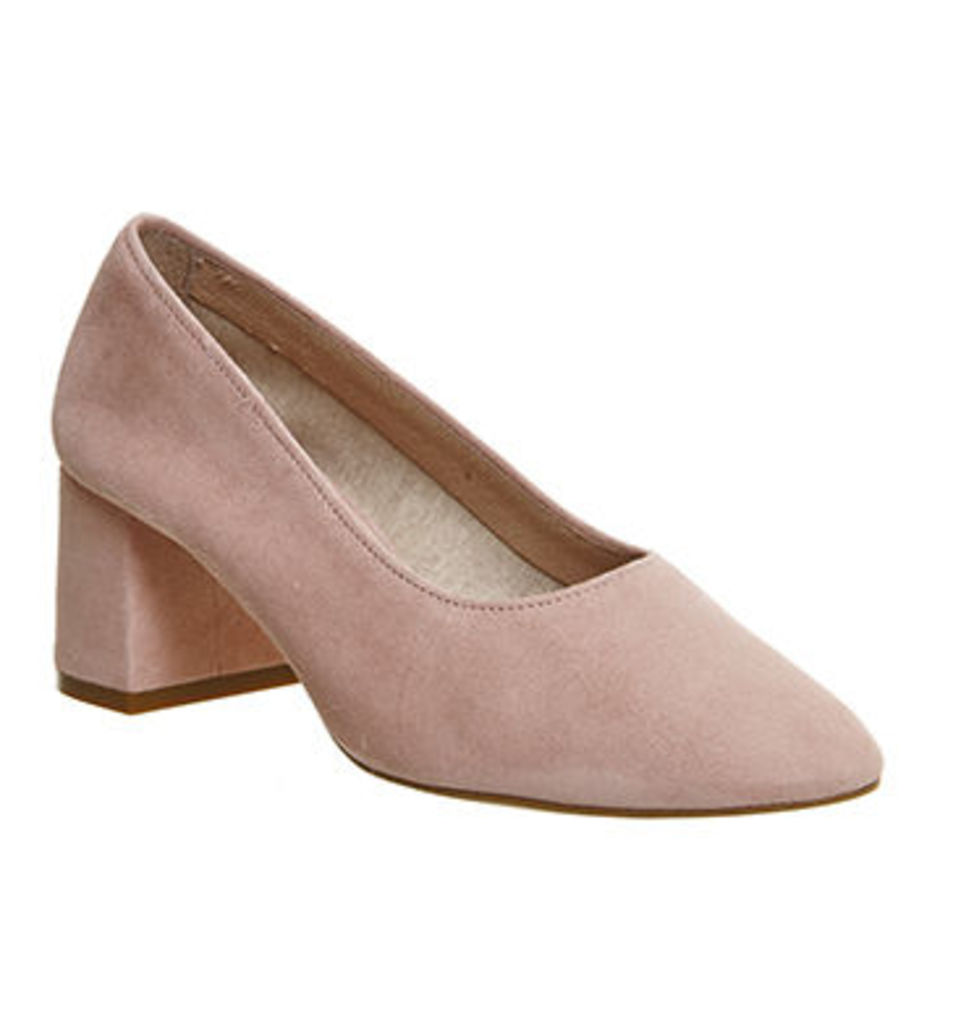 Office Mia Block Heel Softie Ballet PINK SUEDE