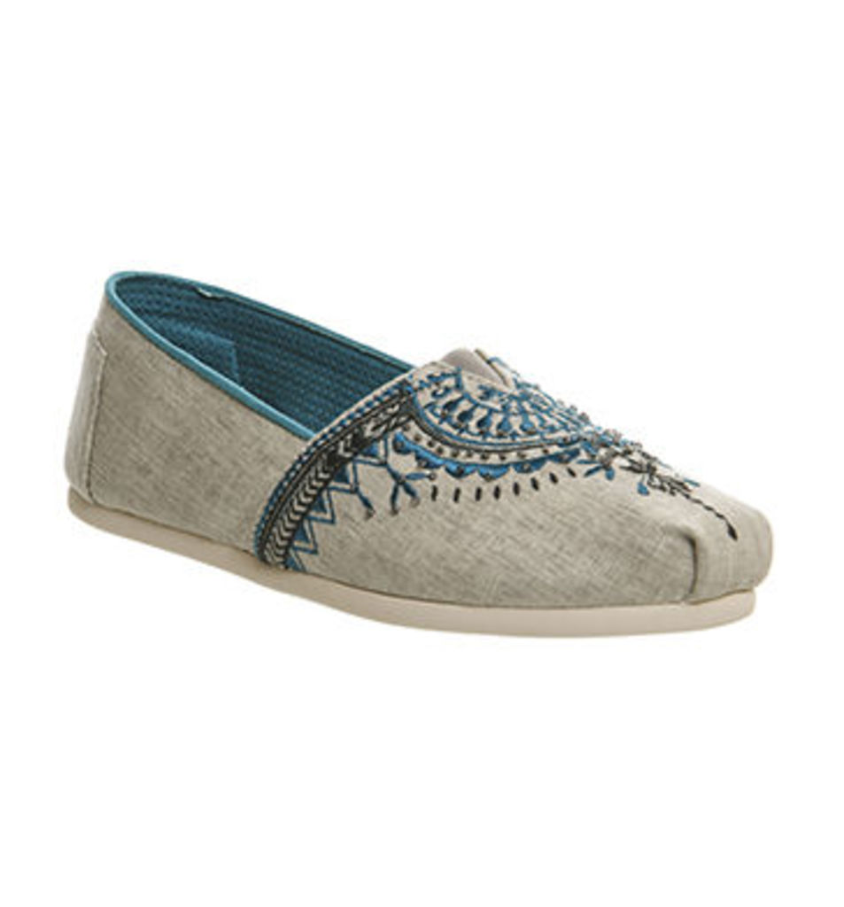 Toms Seasonal Classic Slip On LIGHT GREY CANVAS BEADED EMBROIDERY