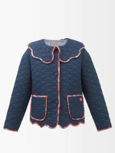 Jean Atelier - Flip Fold Over Denim Shorts - Womens - Grey