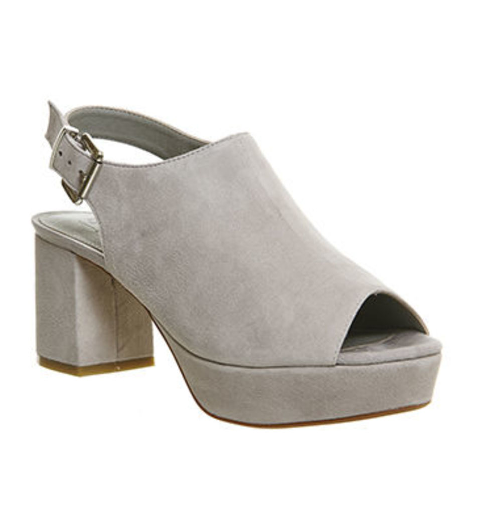 Office Maxed Out High Vamp Block Heel Slingback GREY SUEDE
