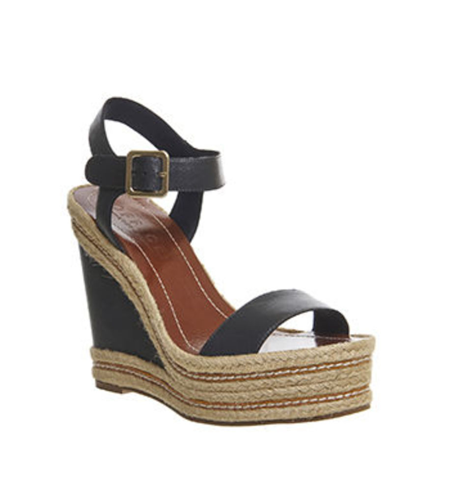 Office Alyssa Rope Feature Wedge NAVY LEATHER