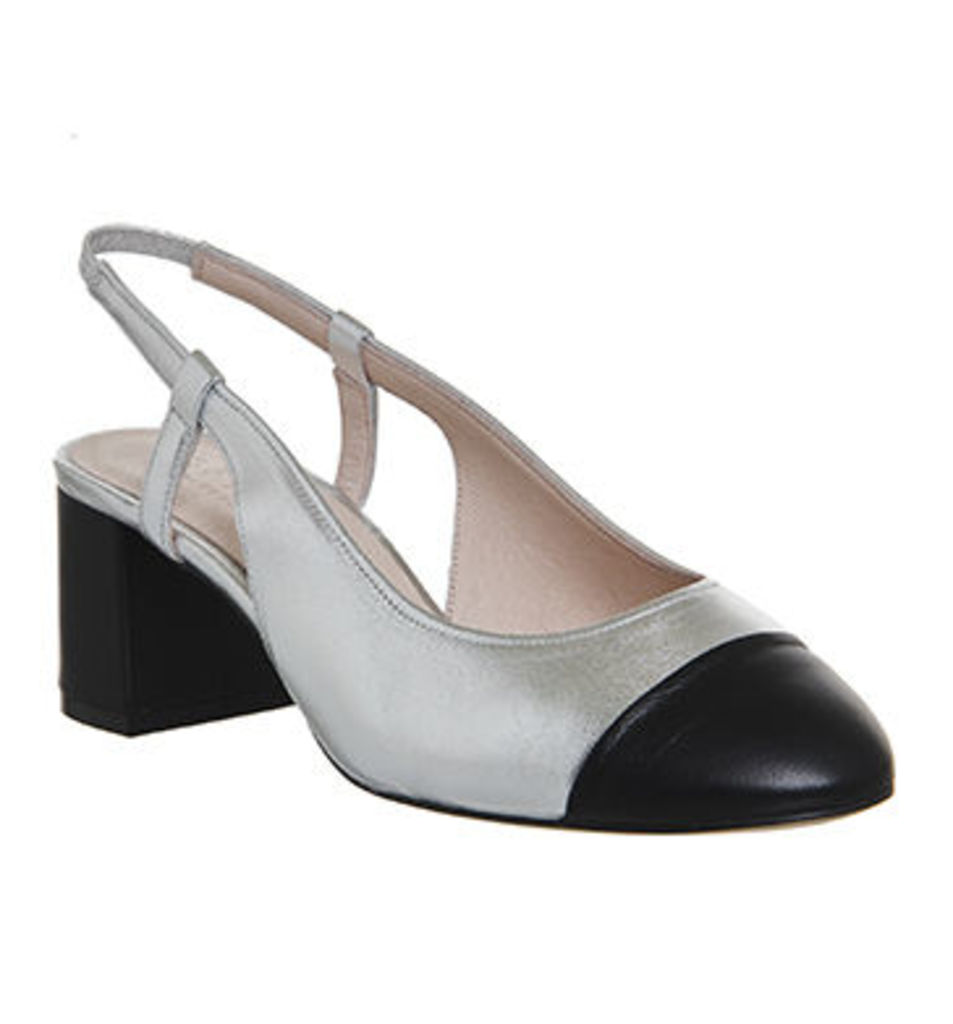 Office Maddie Slingback Toe Cap Block Heels SILVER LEATHER