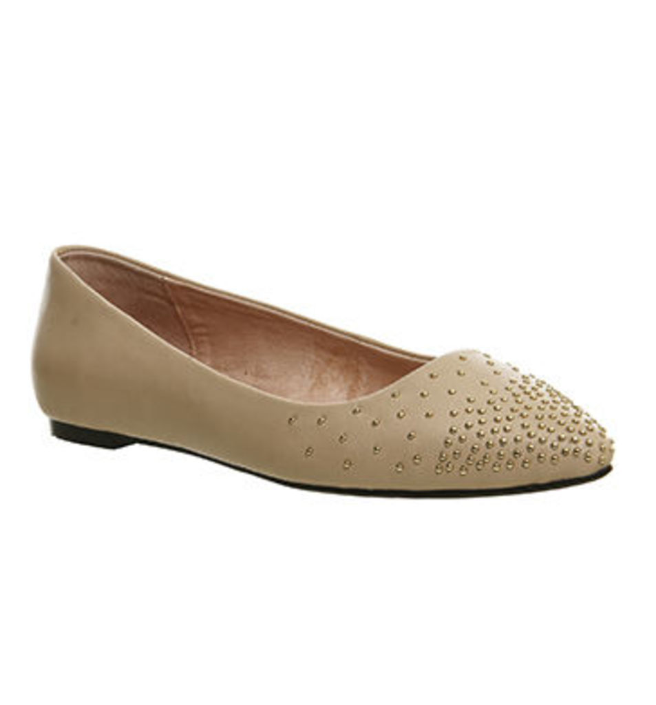 Office Dixie Studded Point Pumps NUDE LEATHER