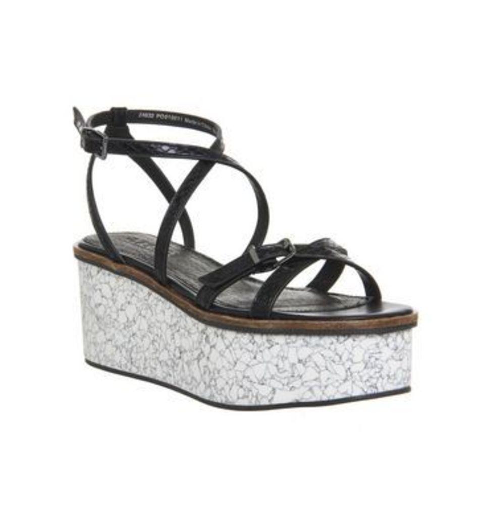 Office Malmo Skinny Strap Platform Sandal BLACK